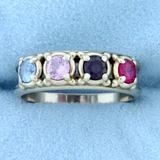 Topaz, Amethyst, And Lab Ruby Gemstone Ring In 10k White Gold