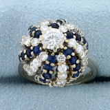 Vintage Cactus Design 2 1/2ct Tw Diamond And Sapphire Ring In 14k White Gold