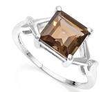 2.3ct Smoky Topaz & Diamond Ring In Sterling Silver