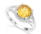 1.8ct Golden Citrine & Diamond Halo Ring In Sterling Silver