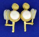 Vintage Custom Created Acorn Nature Design Mabe Pearl Clip-on Earrings In 18k Yellow Gold