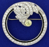 Museum Quality Antique Fancy Yellow And White Diamond Brooch Pin In Platinum