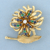Vintage Dan Frere Designer Emerald, Sapphire, And Diamond Feather And Flower Design Pin Brooch In 14