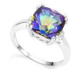 Huge 4.1ct Ocean Mystic Topaz & Diamond Ring In Sterling Silver