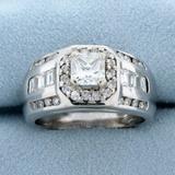 Men's 2 1/2ct Tw Princess Cut Diamond Statement Ring In 14k White Gold