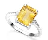 3ct Citrine & Diamond Ring In Sterling Silver