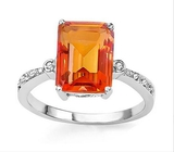 Checkerboard Cut 2.5ct Azotic Topaz & Diamond Ring In Sterling Silver