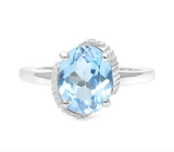 Large 3.2ct Blue Topaz & Diamond Statement Ring In Sterling Silver
