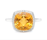Huge 4ct Cushion Cut Citrine & Diamond Ring In Sterling Silver