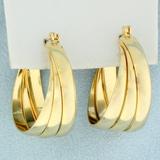 Large 3 Ring Hoop Earrings In 14k Yellow Gold