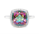 Huge 4.2ct Cushion Cut Mystic Topaz & Diamond Ring In Sterling Silver