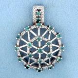 Art Deco Style Green Sapphire And Diamond Pendant In 14k White Gold
