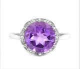 Huge 3.1ct Amethyst Statement Ring In Sterling Silver