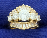2.75ct Tw Round And Baguette Diamond Engagement Ring In 14k Yellow Gold