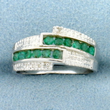 Emerald & Diamond Bypass Ring In Sterling Silver