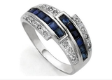 Sapphire & Diamond Bypass Ring In Sterling Silver
