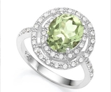 Huge Double Halo Green Amethyst And White Sapphire Statement Ring In Sterling Silver