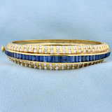 Designer 5ct Tw Natural Sapphire And Diamond Bangle Bracelet In 18k Yellow Gold