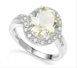 Huge 3.2ct Green Amethyst & White Sapphire Halo Ring In Sterling Silver