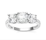 Classic White Topaz 3-stone Ring In Sterling Silver