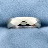 Diamond Pattern Band Ring In 14k White Gold