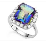 Huge 6.2ct Ocean Mystic Topaz & White Topaz Halo Statement Ring In Sterling Silver