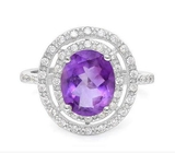 Huge Double Halo Amethyst And White Sapphire Statement Ring In Sterling Silver