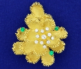 Diamond And Emerald Abstract Design Flower Pin In 18k Yellow Gold