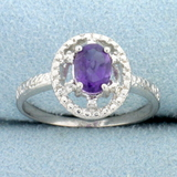Amethyst Open Halo Diamond Ring In Sterling Silver