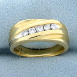 Diamond Wedding Or Anniversary Band Ring In 14k Yellow And White Gold