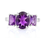 Classic Large Amethyst 3-stone Ring In Sterling Silver