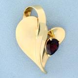 Designer Garnet Abstract Heart Pendant In 14k Yellow Gold
