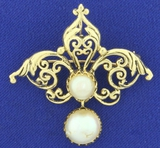 Antique Akoya Pearl Pendant Or Pin In 14k Yellow Gold