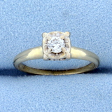 Vintage Diamond Engagement Ring In 14k Yellow And White Gold