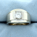Antique Old European Cut 2/3ct Solitaire Diamond Ring In 14k White Gold