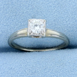 Vintage 1/3ct Diamond Solitaire Engagement Ring In 14k White Gold