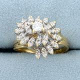 Vintage 1/2ct Tw Diamond Spiral Design Ring In 14k Yellow Gold