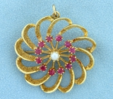 Vintage Ruby And Pearl Pinwheel Design Pin Or Pendant In 14k Yellow Gold
