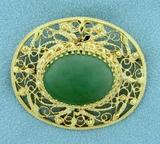 15ct Natural Jade Filigree Pendant Or Pin In 14k Yellow Gold