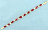 15ct Lab Ruby And Diamond Bracelet In 10k Yellow Gold
