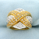 Vintage Diamond Criss Cross Design Statement Ring In 18k Yellow And White Gold