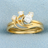 Unique Astology Design Diamond Ring In 14k Yellow Gold