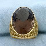 20ct Smokey Topaz Statement Ring In 18k Yellow Gold