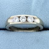 Mens 3/4ct Tw Diamond Three-stone Wedding Or Anniversary Ring In 14k White Gold
