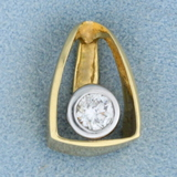 Unique 1/3ct Solitaire Diamond Pendant Or Slide In 14k Yellow And White Gold