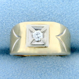 Vintage Solitaire Diamond Ring In 14k Yellow And White Gold