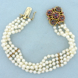 Antique 4-strand Pearl Bracelet With Ruby And Sapphire Clasp In 14k Yellow Gold