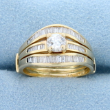 Almost 1ct Tw Baguette And Round Diamond Engagement Ring In 14k Yellow Gold