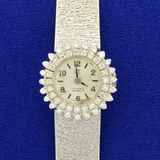 Antique Womens Diamond Swiss Made 17 Rubis Incabloc Windup Watch In Solid 18k White Gold