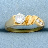 Modern Abstract Design Over 1/2ct Tw Diamond Ring In 14k Yellow Gold
